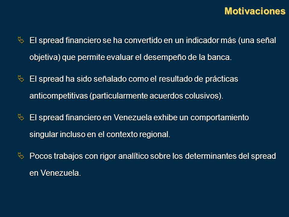 Motivaciones El spread financiero se ha convertido en un indicador más (una señal objetiva) que permite evaluar el desempeño de la banca.