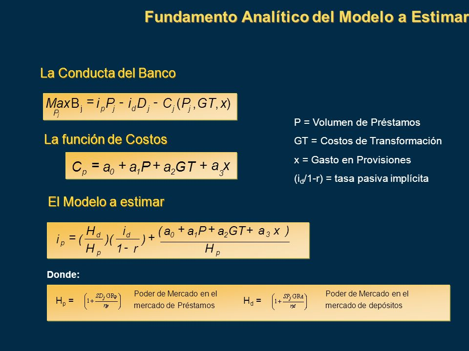 Fundamento Analítico del Modelo a Estimar