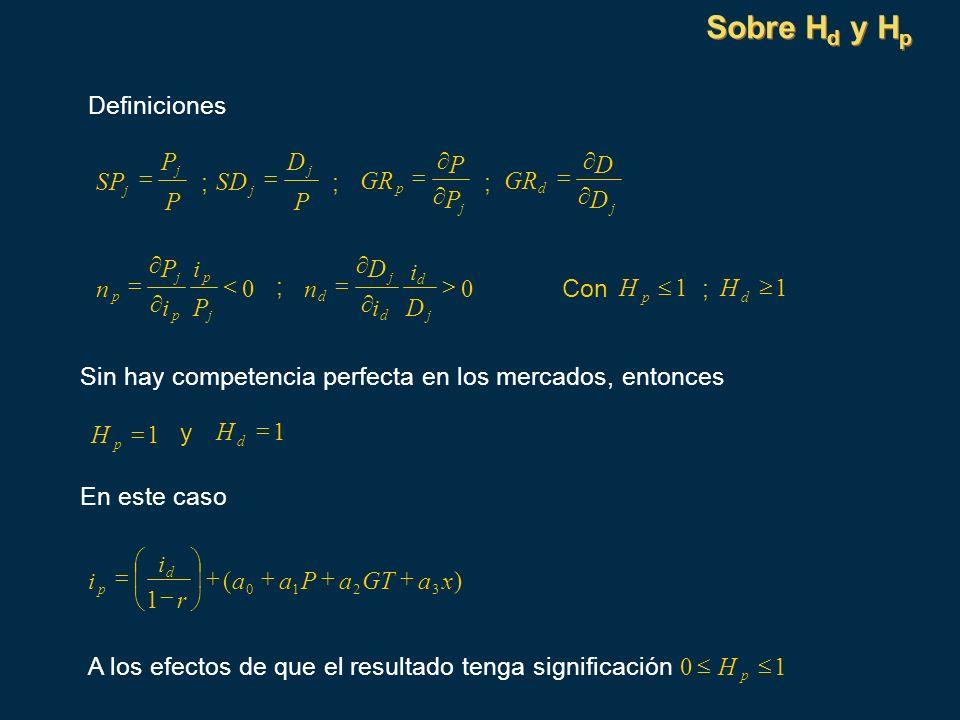 Sobre Hd y Hp Definiciones P D ¶ P ¶ D SP = ; SD = ; GR = ; GR = P ¶ P