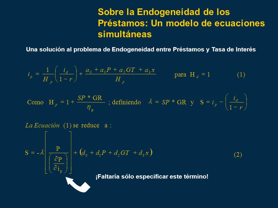 Sobre la Endogeneidad de los Préstamos: Un modelo de ecuaciones simultáneas