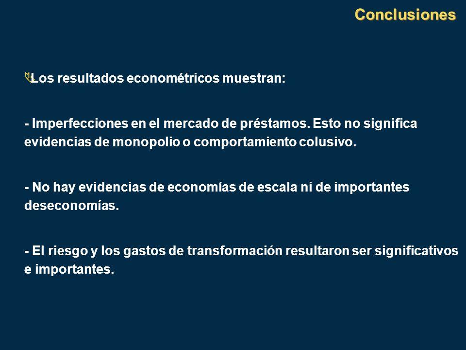 Conclusiones Los resultados econométricos muestran: