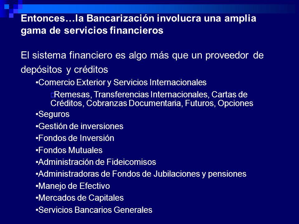Entonces…la Bancarización involucra una amplia gama de servicios financieros