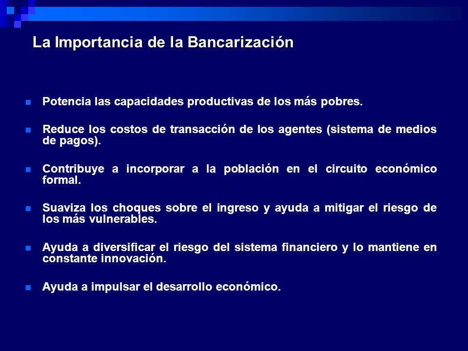 La Importancia de la Bancarización