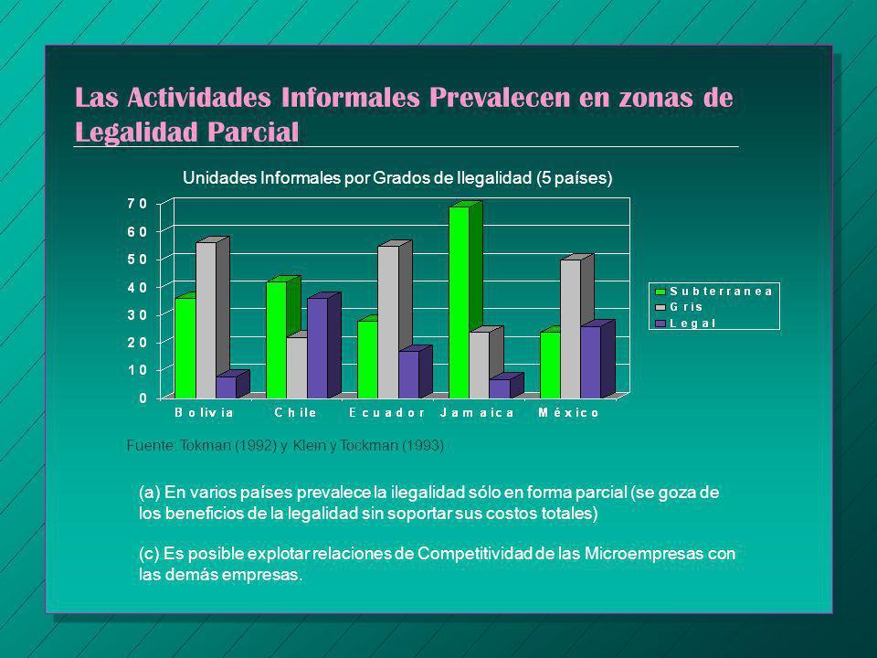 Las Actividades Informales Prevalecen en zonas de Legalidad Parcial