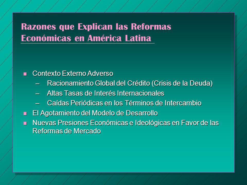 Razones que Explican las Reformas Económicas en América Latina