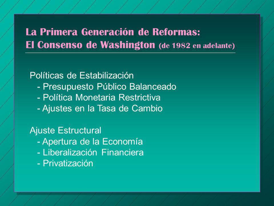 La Primera Generación de Reformas: El Consenso de Washington (de 1982 en adelante)