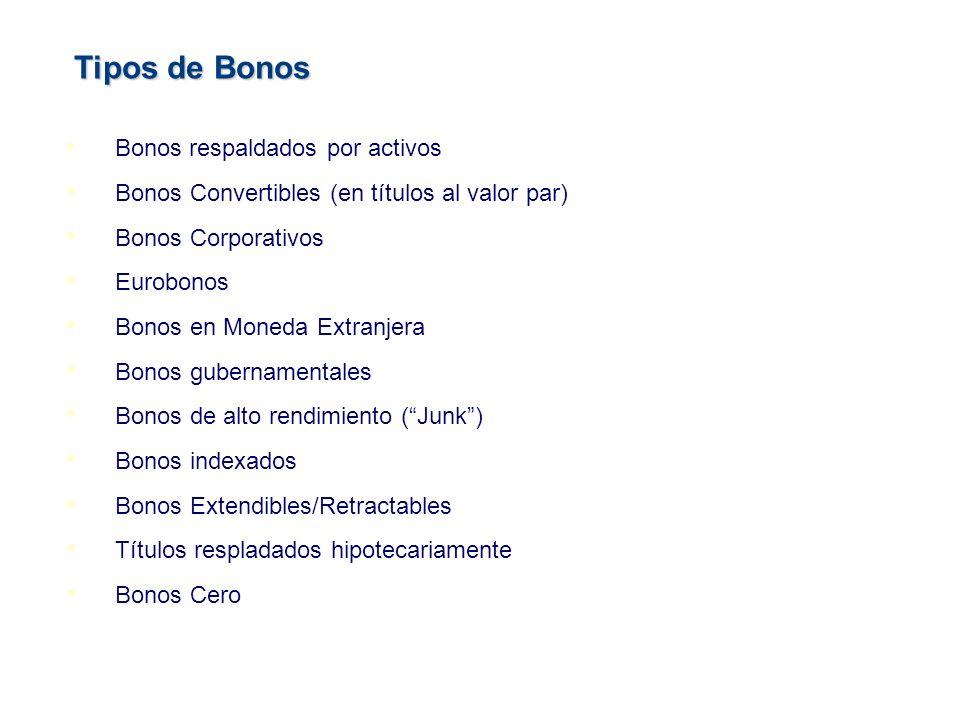 Tipos de Bonos Bonos Convertibles (en títulos al valor par)