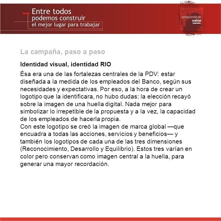 La campaña, paso a paso Identidad visual, identidad RIO