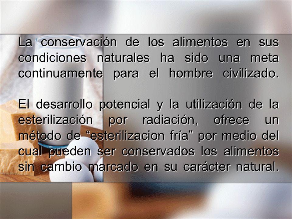 La conservación de los alimentos en sus condiciones naturales ha sido una meta continuamente para el hombre civilizado.