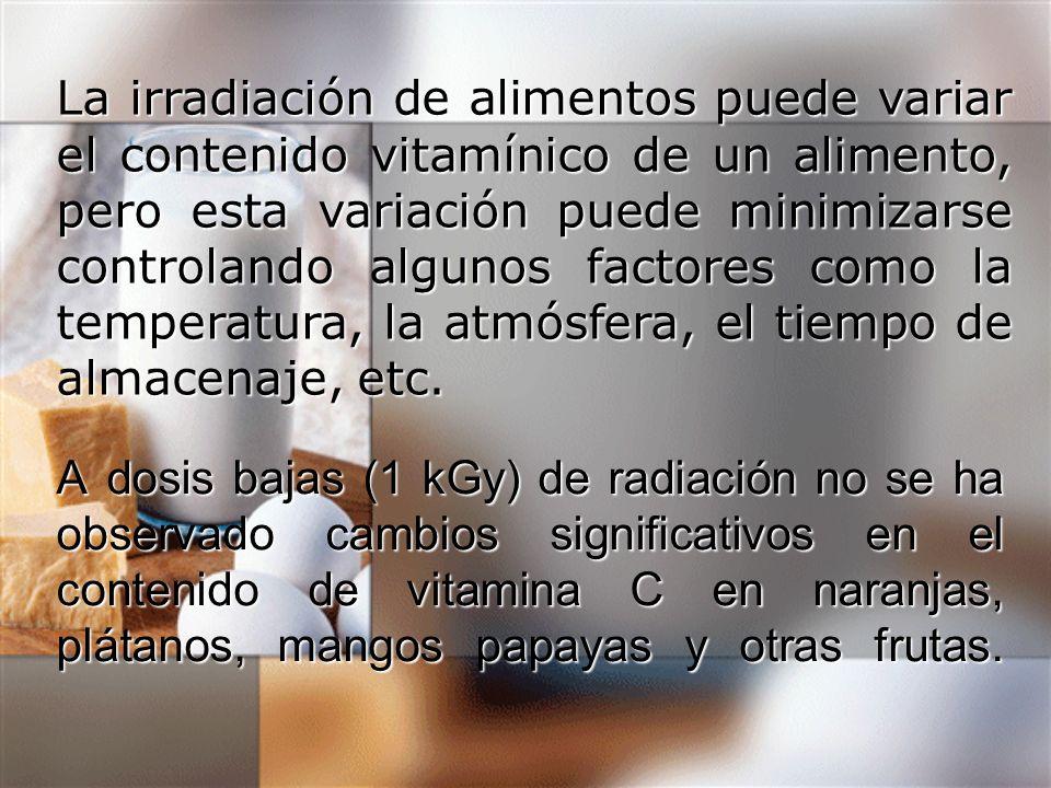 La irradiación de alimentos puede variar el contenido vitamínico de un alimento, pero esta variación puede minimizarse controlando algunos factores como la temperatura, la atmósfera, el tiempo de almacenaje, etc.