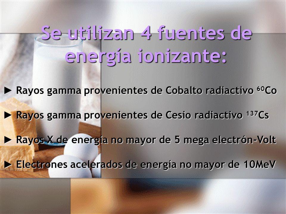Se utilizan 4 fuentes de energía ionizante: