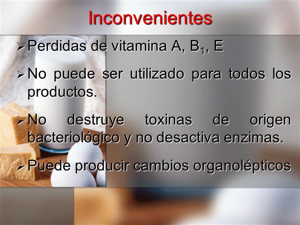 Inconvenientes Perdidas de vitamina A, B1, E