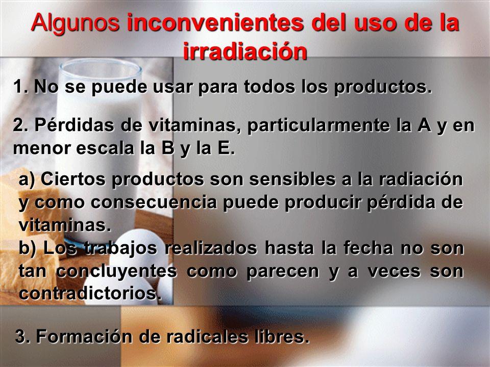 Algunos inconvenientes del uso de la irradiación