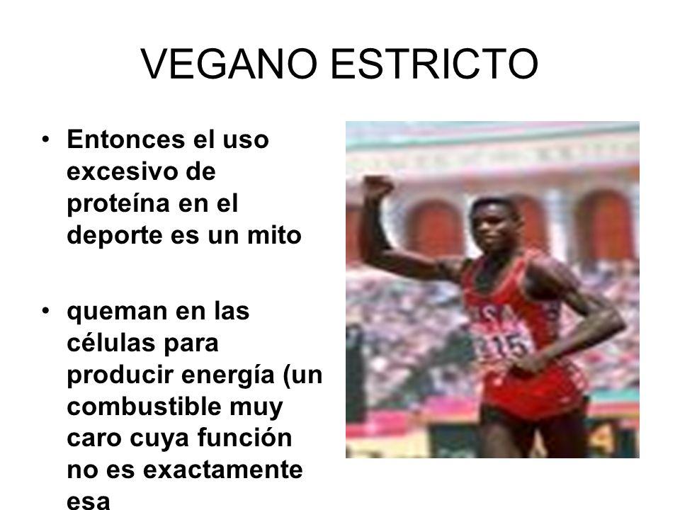 VEGANO ESTRICTO Entonces el uso excesivo de proteína en el deporte es un mito.