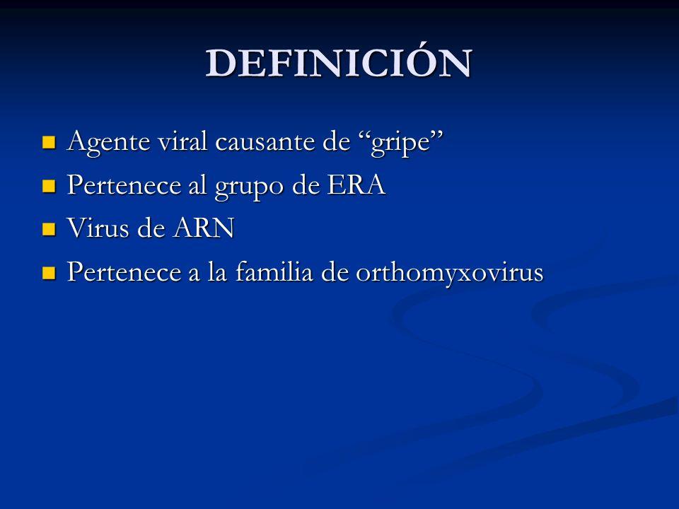 DEFINICIÓN Agente viral causante de gripe Pertenece al grupo de ERA