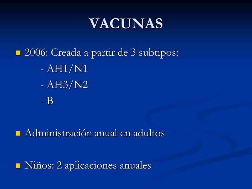 VACUNAS 2006: Creada a partir de 3 subtipos: - AH1/N1 - AH3/N2 - B