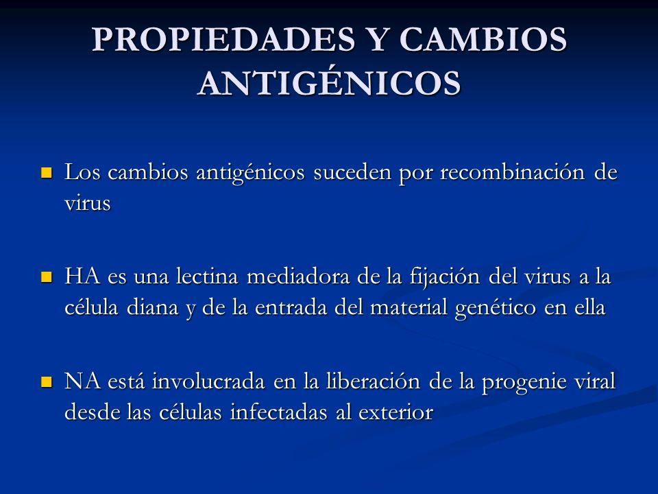 PROPIEDADES Y CAMBIOS ANTIGÉNICOS