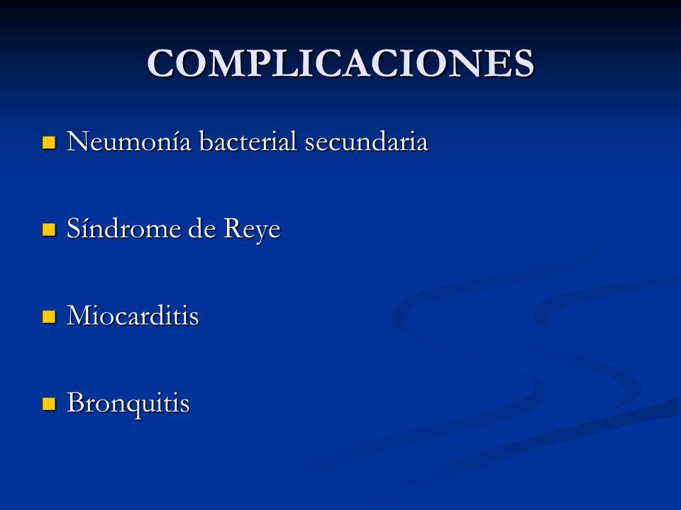 COMPLICACIONES Neumonía bacterial secundaria Síndrome de Reye