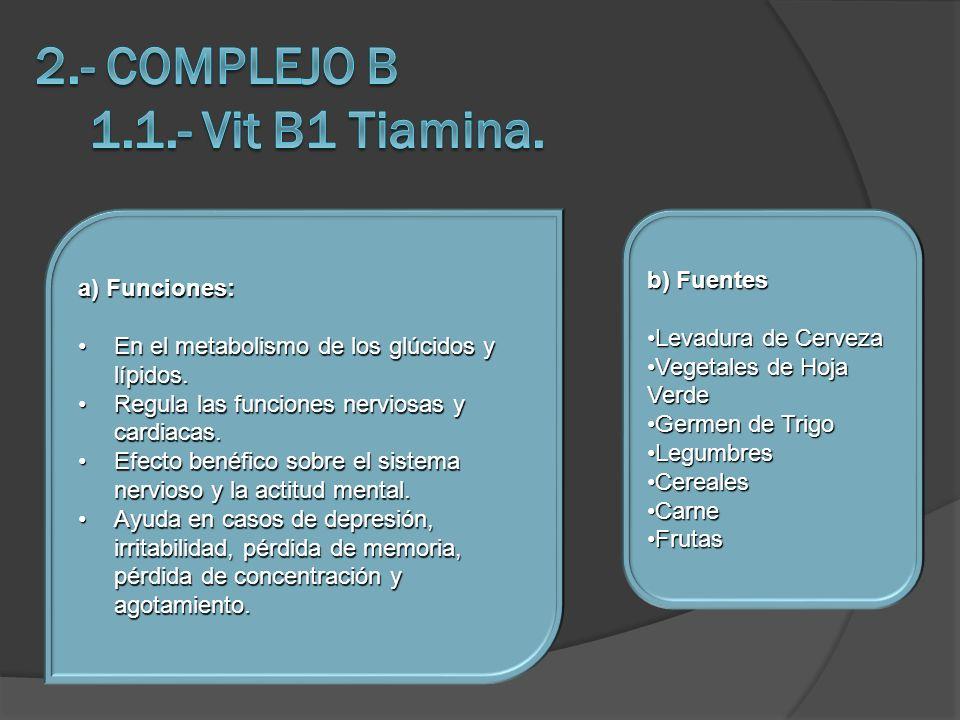 2.- COMPLEJO B 1.1.- Vit B1 Tiamina.
