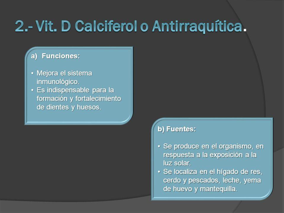 2.- Vit. D Calciferol o Antirraquítica.