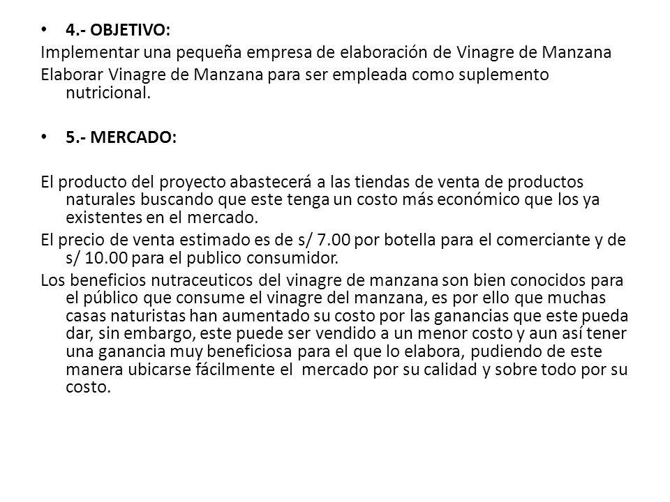 4.- OBJETIVO: Implementar una pequeña empresa de elaboración de Vinagre de Manzana.