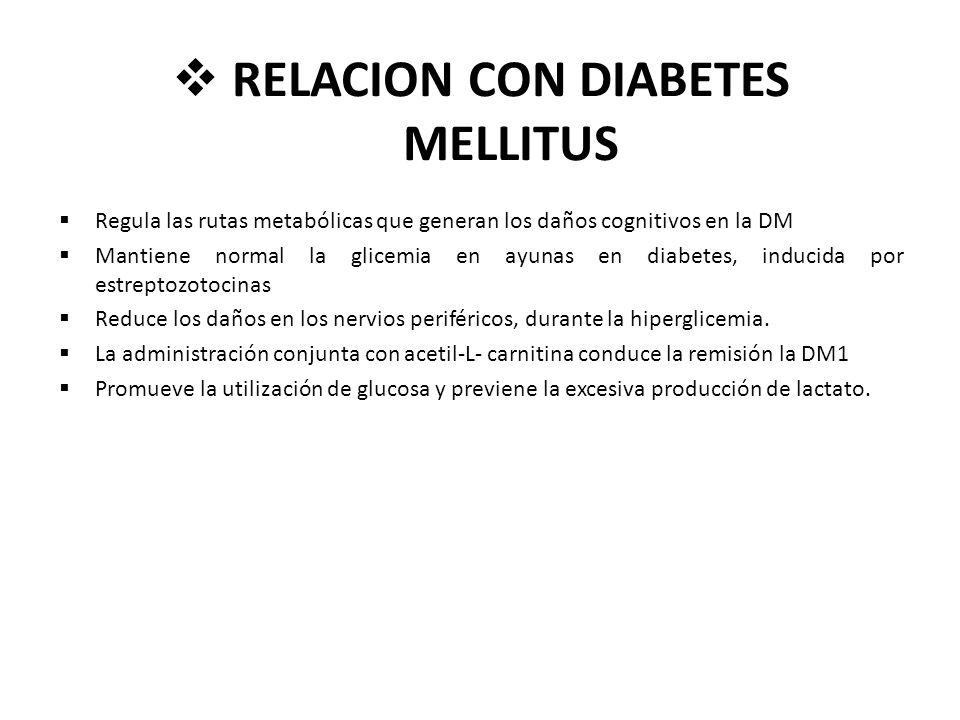 RELACION CON DIABETES MELLITUS