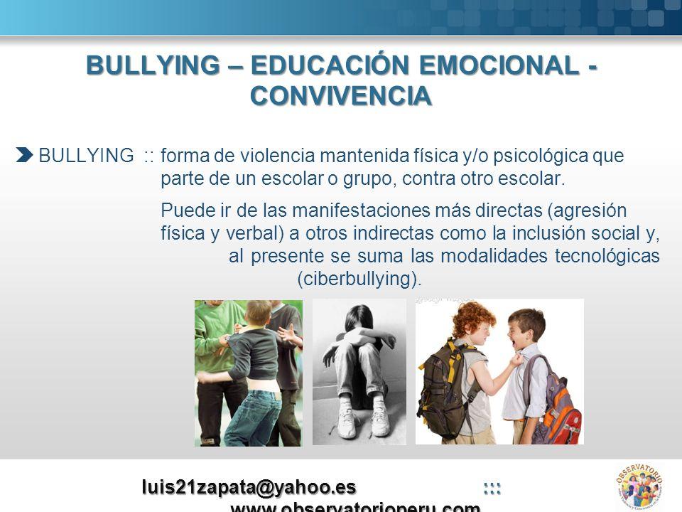 BULLYING – EDUCACIÓN EMOCIONAL - CONVIVENCIA