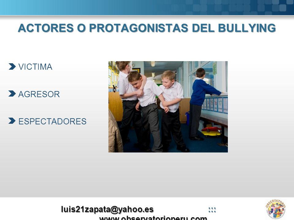 ACTORES O PROTAGONISTAS DEL BULLYING