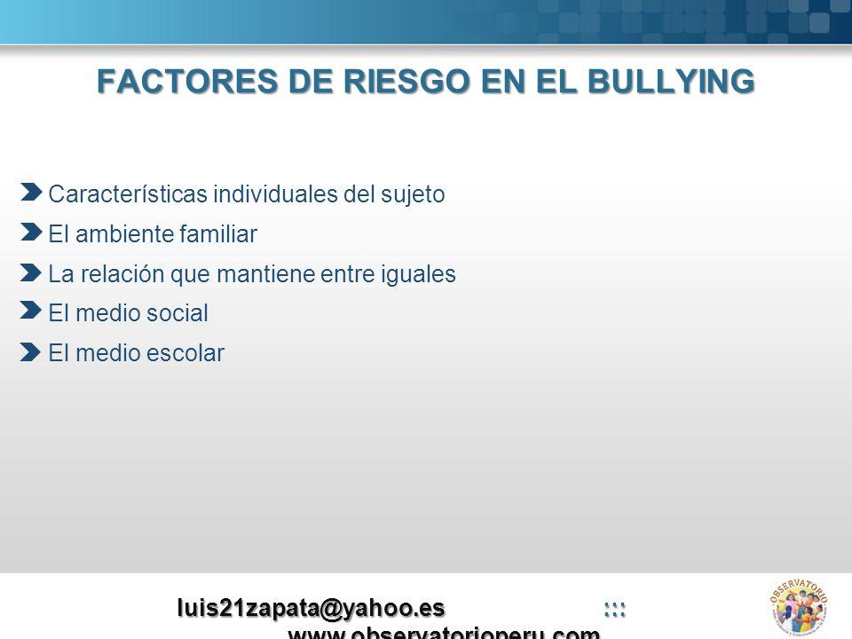 FACTORES DE RIESGO EN EL BULLYING
