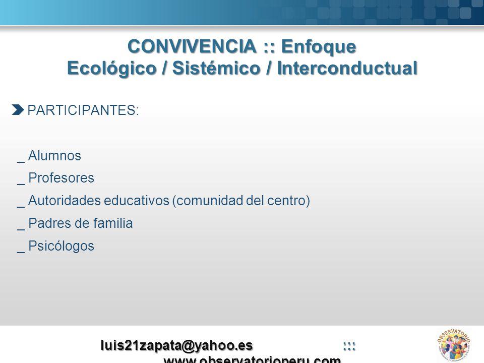 CONVIVENCIA :: Enfoque Ecológico / Sistémico / Interconductual