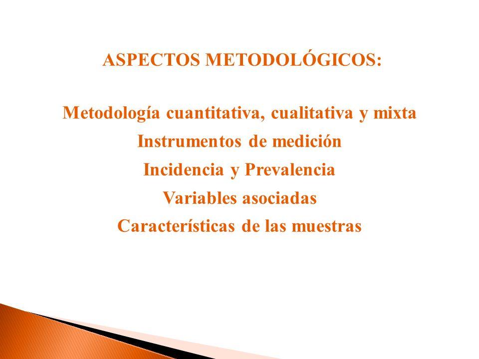 ASPECTOS METODOLÓGICOS: Metodología cuantitativa, cualitativa y mixta Instrumentos de medición Incidencia y Prevalencia Variables asociadas Características de las muestras