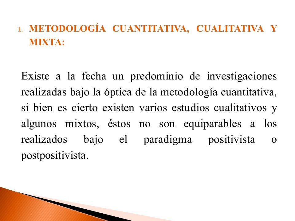 METODOLOGÍA CUANTITATIVA, CUALITATIVA Y MIXTA: