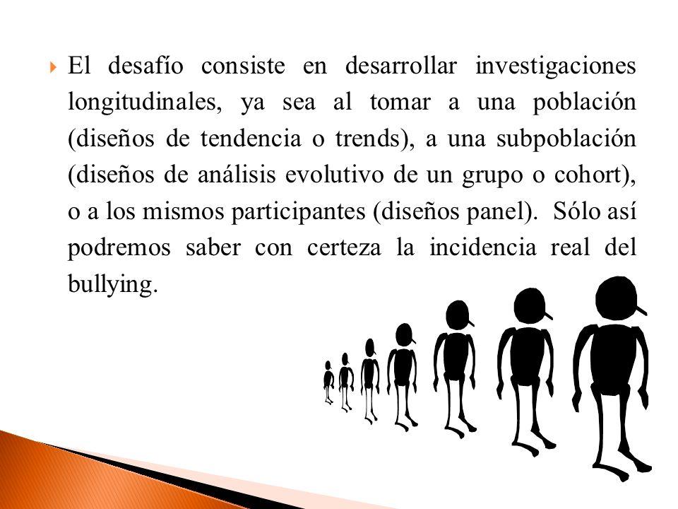 El desafío consiste en desarrollar investigaciones longitudinales, ya sea al tomar a una población (diseños de tendencia o trends), a una subpoblación (diseños de análisis evolutivo de un grupo o cohort), o a los mismos participantes (diseños panel).