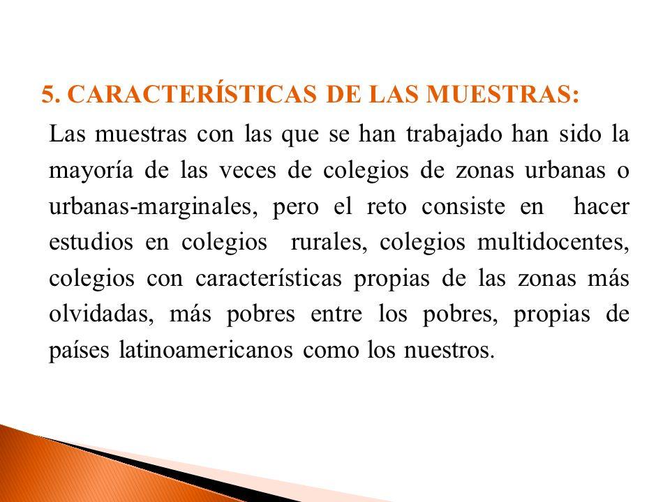 5. CARACTERÍSTICAS DE LAS MUESTRAS: