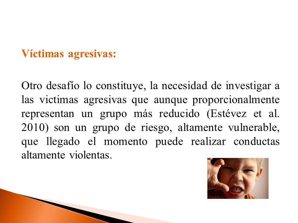 Víctimas agresivas: Otro desafío lo constituye, la necesidad de investigar a las victimas agresivas que aunque proporcionalmente representan un grupo más reducido (Estévez et al.