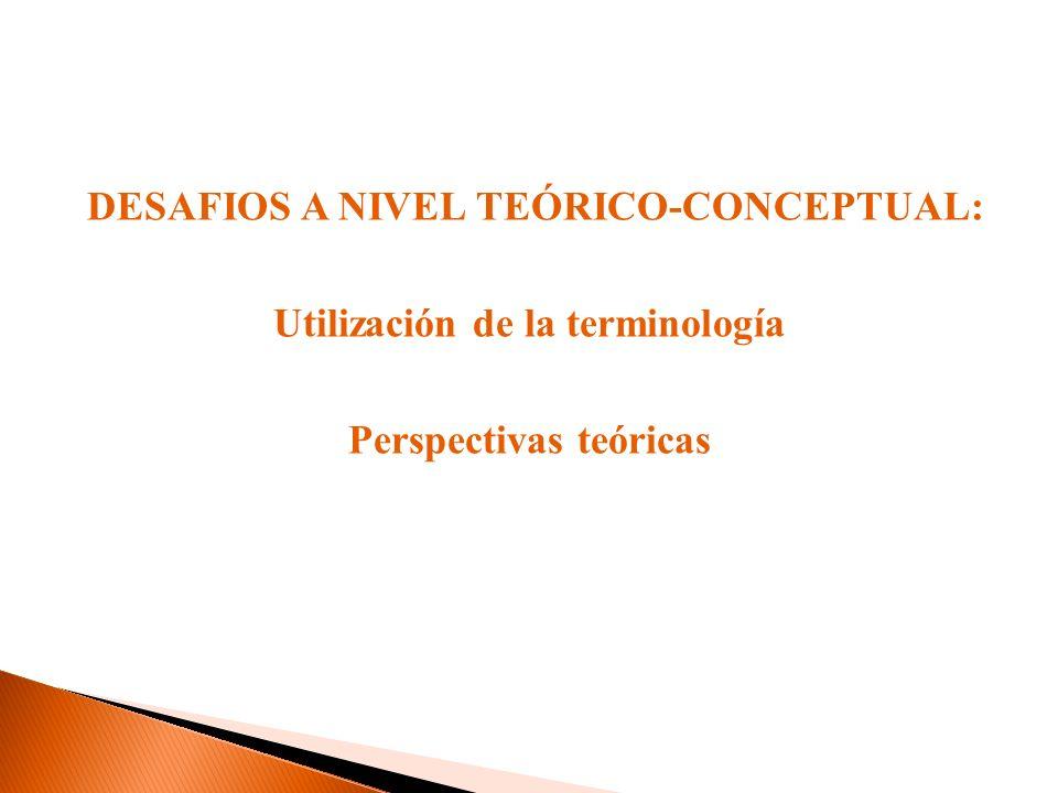 DESAFIOS A NIVEL TEÓRICO-CONCEPTUAL: Utilización de la terminología