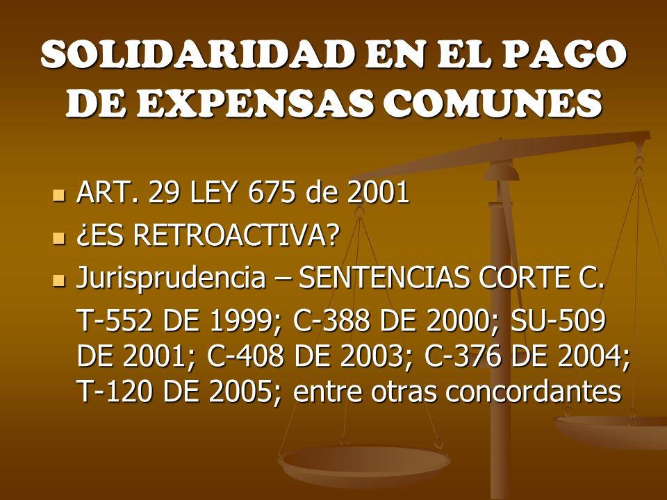 SOLIDARIDAD EN EL PAGO DE EXPENSAS COMUNES