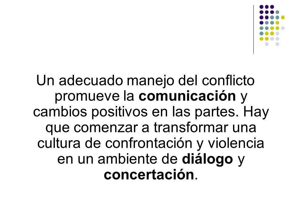 Un adecuado manejo del conflicto promueve la comunicación y cambios positivos en las partes.