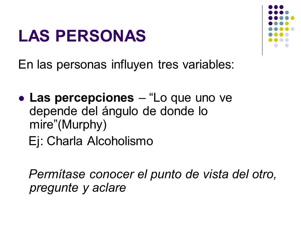 LAS PERSONAS En las personas influyen tres variables: