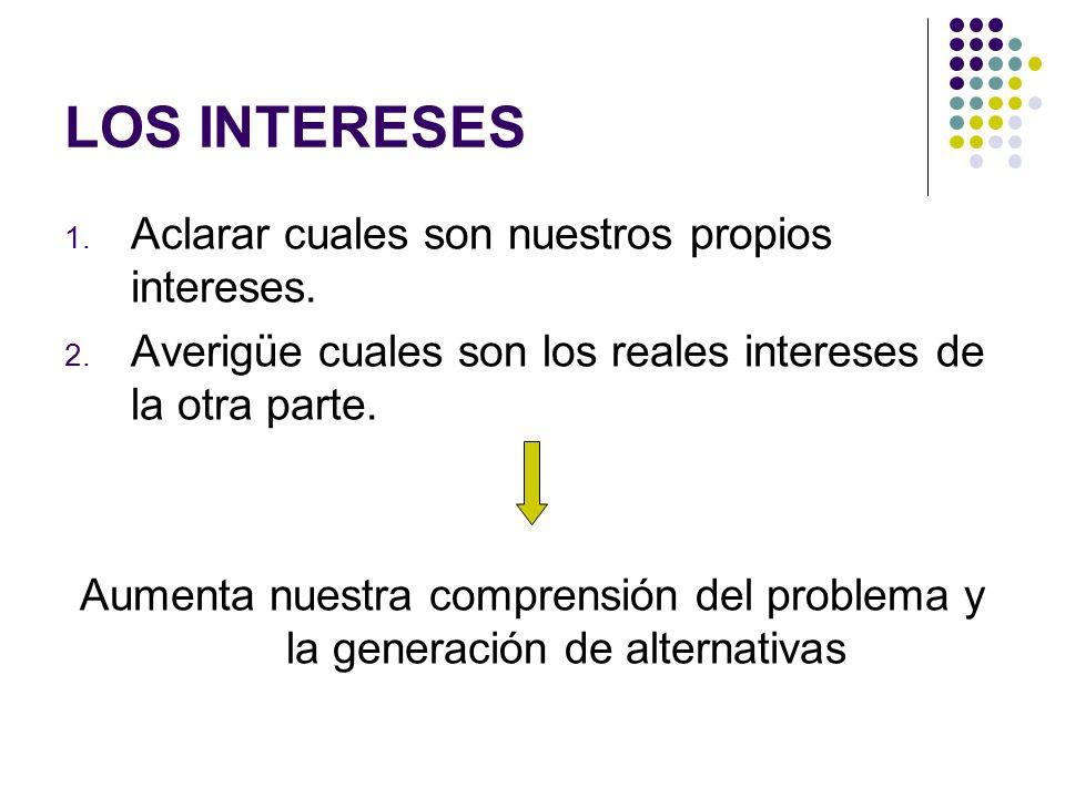LOS INTERESES Aclarar cuales son nuestros propios intereses.