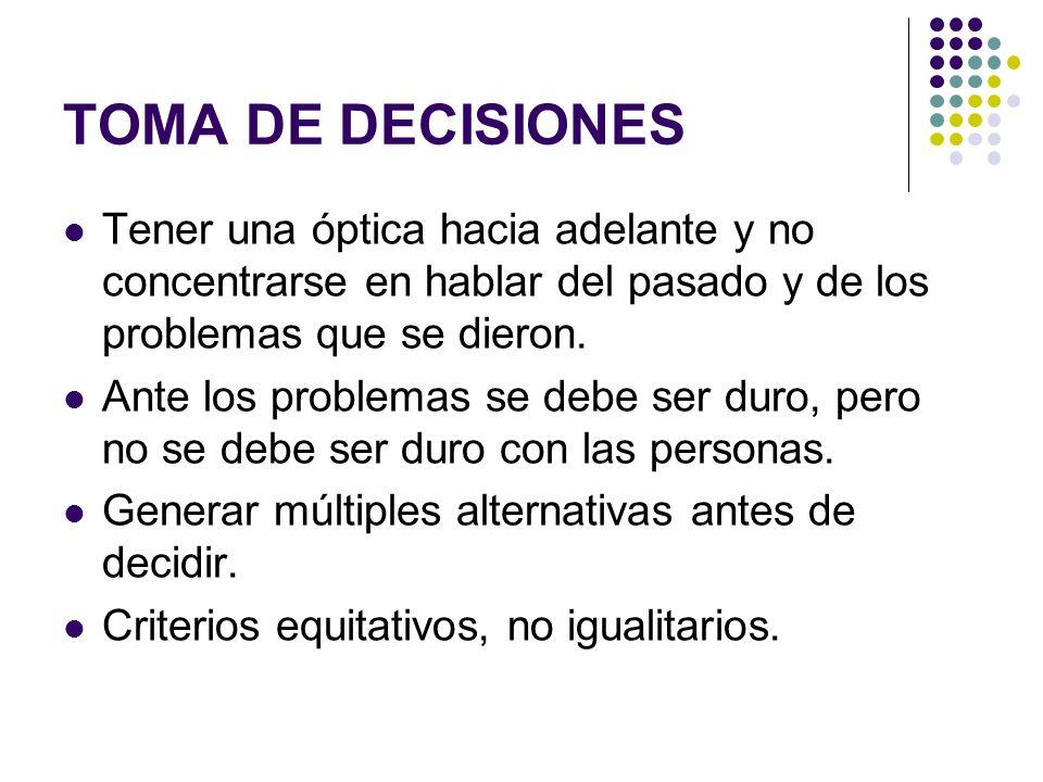 TOMA DE DECISIONES Tener una óptica hacia adelante y no concentrarse en hablar del pasado y de los problemas que se dieron.