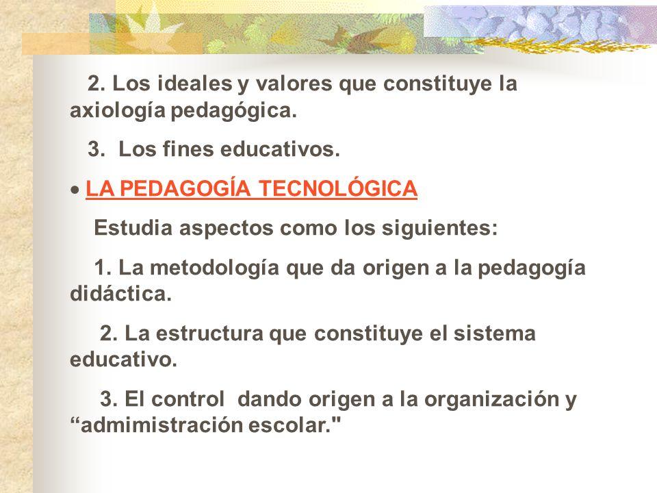 2. Los ideales y valores que constituye la axiología pedagógica.