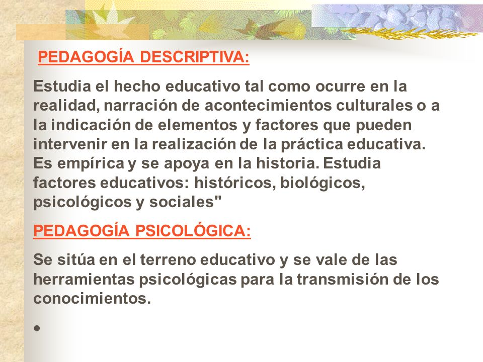 PEDAGOGÍA DESCRIPTIVA: