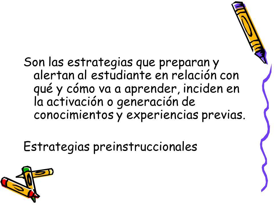 Son las estrategias que preparan y alertan al estudiante en relación con qué y cómo va a aprender, inciden en la activación o generación de conocimientos y experiencias previas.