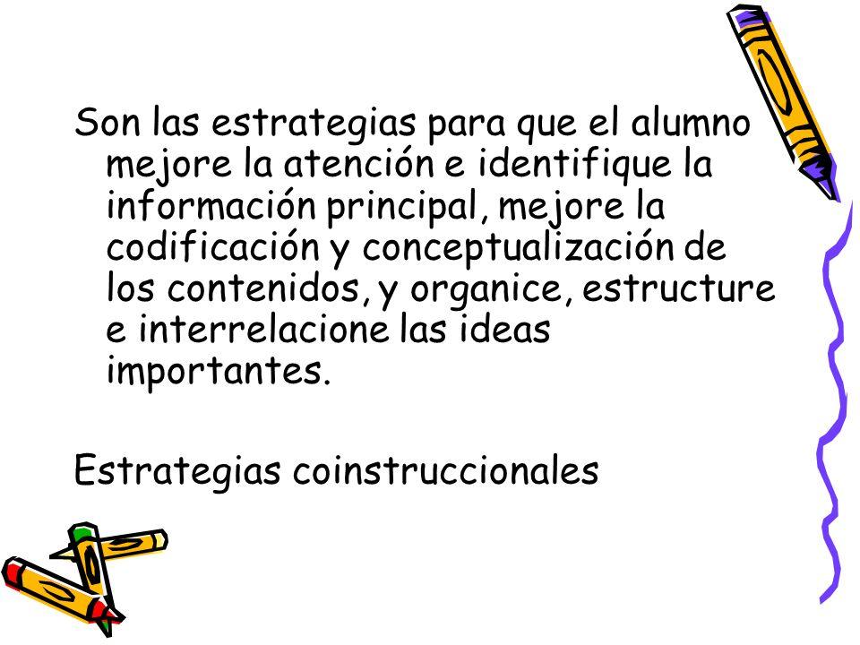 Son las estrategias para que el alumno mejore la atención e identifique la información principal, mejore la codificación y conceptualización de los contenidos, y organice, estructure e interrelacione las ideas importantes.