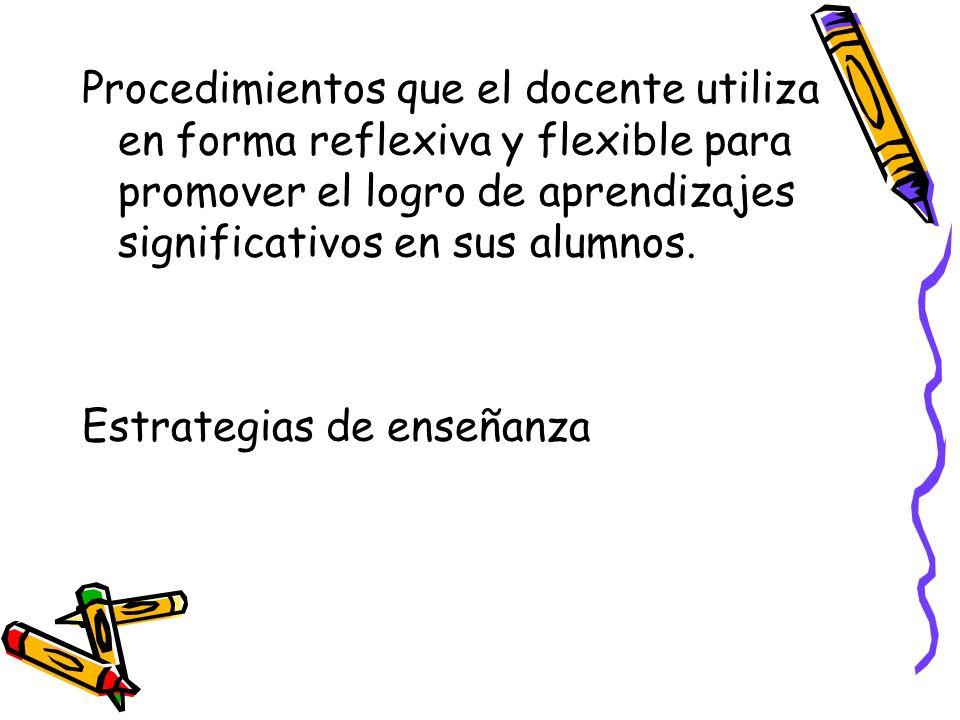 Procedimientos que el docente utiliza en forma reflexiva y flexible para promover el logro de aprendizajes significativos en sus alumnos.
