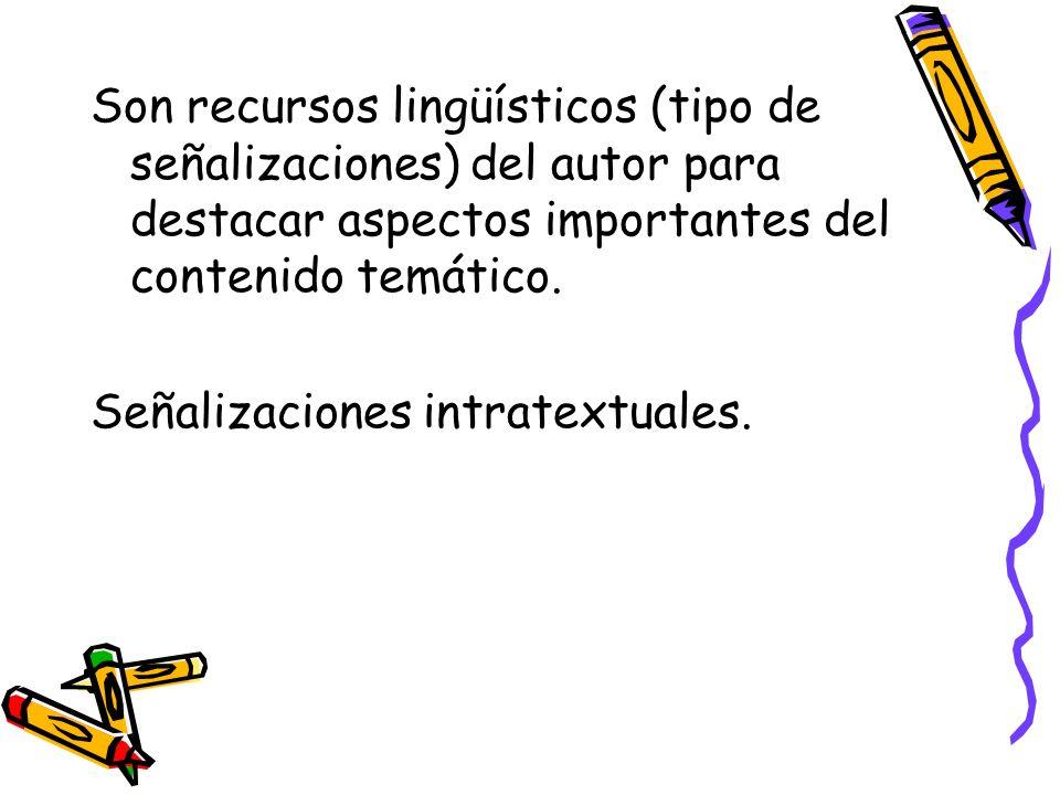 Son recursos lingüísticos (tipo de señalizaciones) del autor para destacar aspectos importantes del contenido temático.