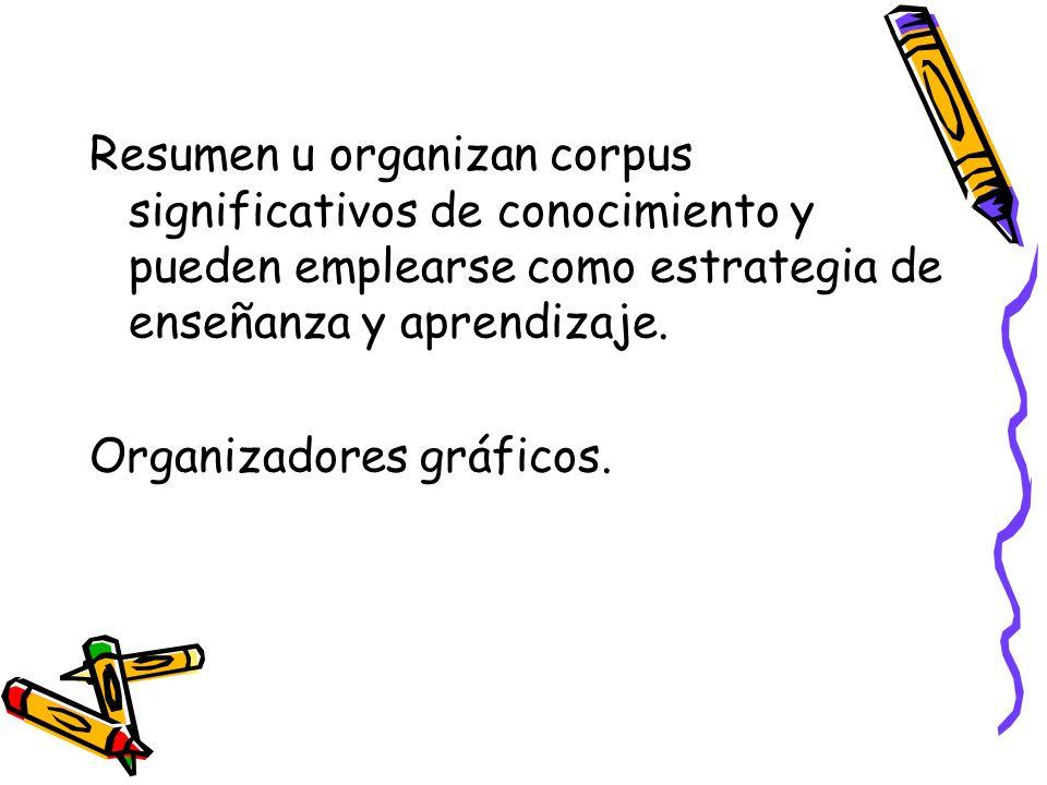 Resumen u organizan corpus significativos de conocimiento y pueden emplearse como estrategia de enseñanza y aprendizaje.
