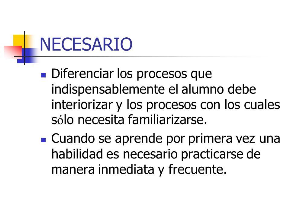NECESARIO Diferenciar los procesos que indispensablemente el alumno debe interiorizar y los procesos con los cuales sólo necesita familiarizarse.