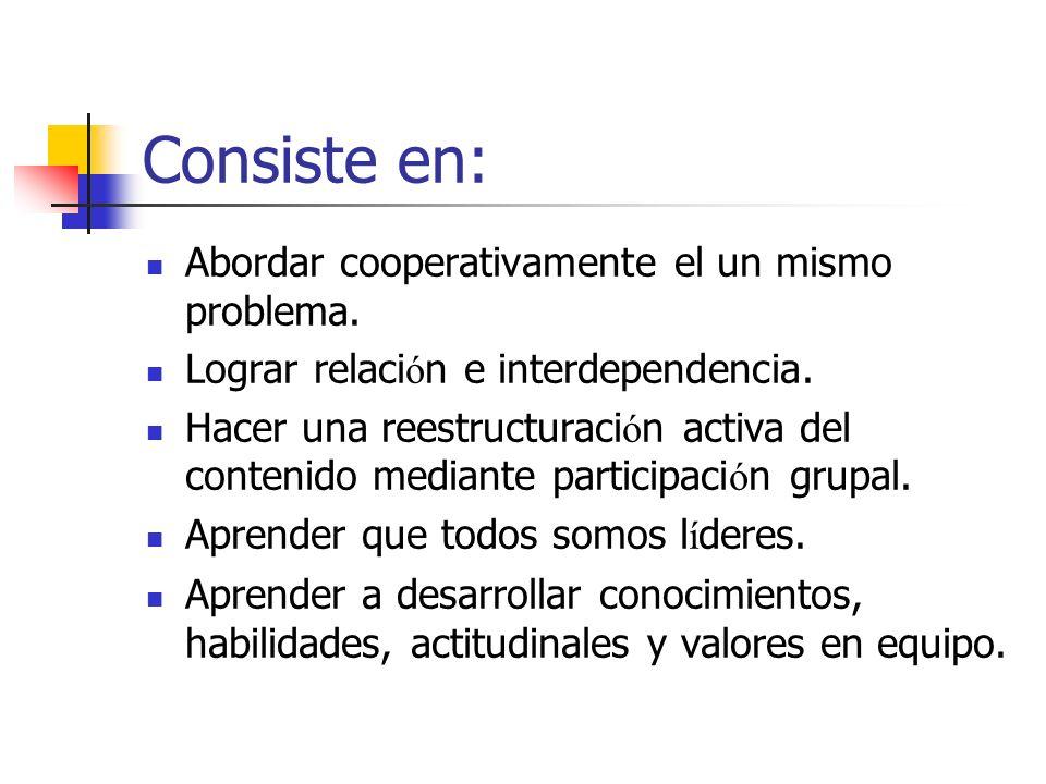 Consiste en: Abordar cooperativamente el un mismo problema.